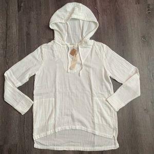 (NWT) FRESH Laundry White Cotton Tunic Hoodie (L)